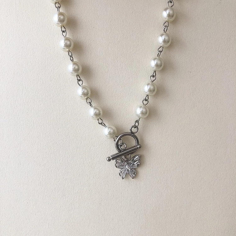 QiuYueShangMao Colgante de Collar Vintage estética Exquisita Perla Diamantes de imitación Gargantilla Mariposa Collar de Acero de Titanio para Mujeres Regalos de joyería de Fiesta cumpleaños Regalo