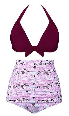 Angerella Vintage Bademode mit Faltenwurf hohe Taille Bikini Set (EU  34-36=Tag