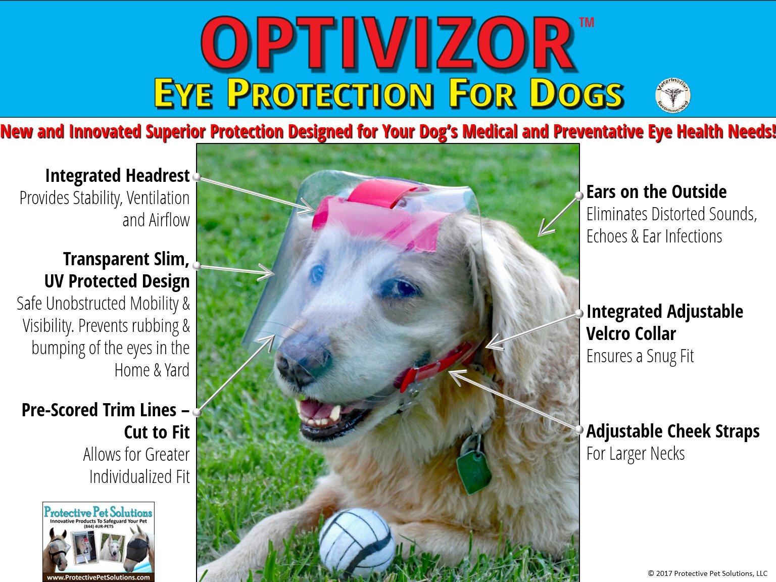 Optivizor Regular Snout Clear 92% UV Medical/Preventative Eye Protection (Goggles/Sunglasses) for Dogs (Size Large) by Optivizor