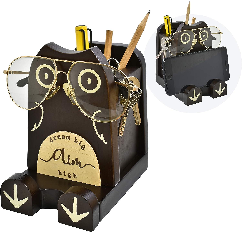 "I'm Wood Multipurpose Eyeglass Phone Pen & Pencil Holder Stand Stationery Desk Box Organizer Accessories Decor, Home Office Desktop Decoration Birthday Graduation Gifts ""Dream Big Aim High"" (Owl)"