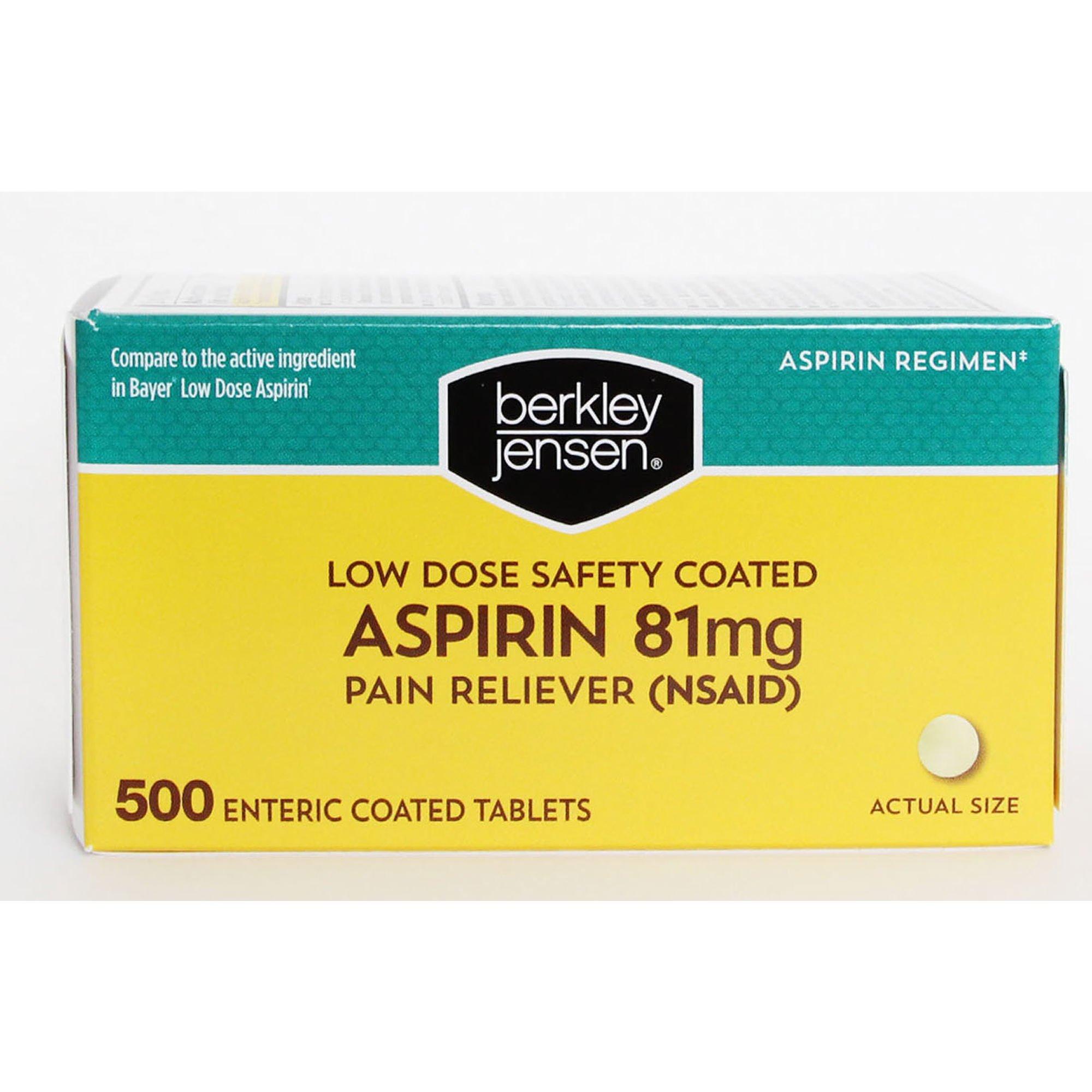 Berkley Jensen Low Dose Safety Coated Aspirin, 81 mg, 500 ct.