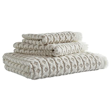 Stone & Beam Textured Criss Cross Cotton Towel Set – Set of 3, Taupe