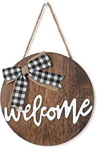 Liltime Welcome Sign for Front Door Wood Welcome Home Sign Door Decorations Hanging Outdoor Front Door Decor for Farmhouse Front Porch Restaurant Holiday Decor (Brown)