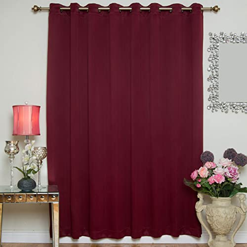 Best window curtain panel: Burgundy Wide Width Antique Brass Grommet Top Thermal Insulated Blackout Curtain 100 Inch Wide