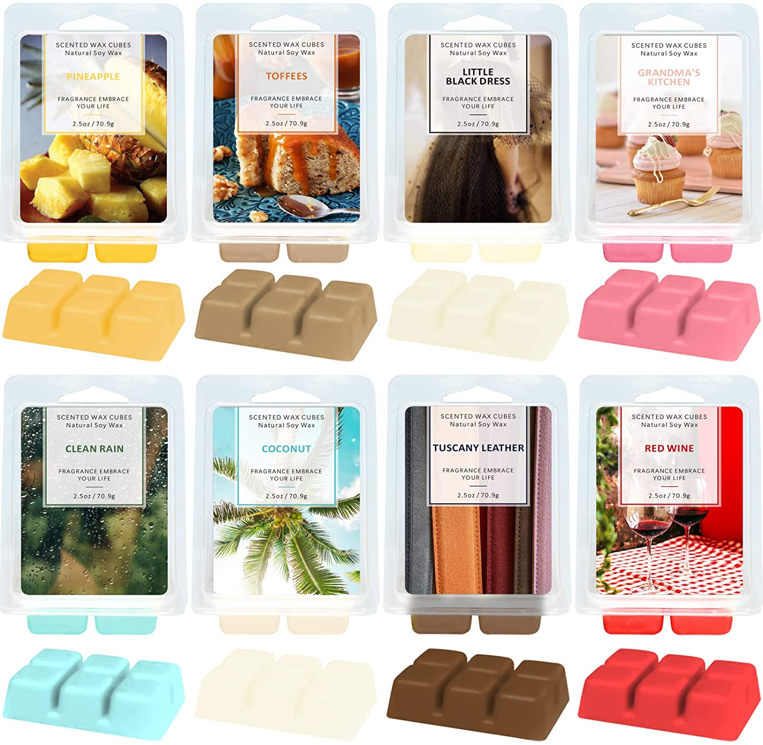 LA BELLEFÉE Scented Wax Melts, Wax Cube Wax Melts, Elegant Fragrance Wax Cubes,Candle Wax Warmer Melts,Wax Cubes for Home, Scented Natural Soy Wax Cube,8X 2.5 oz