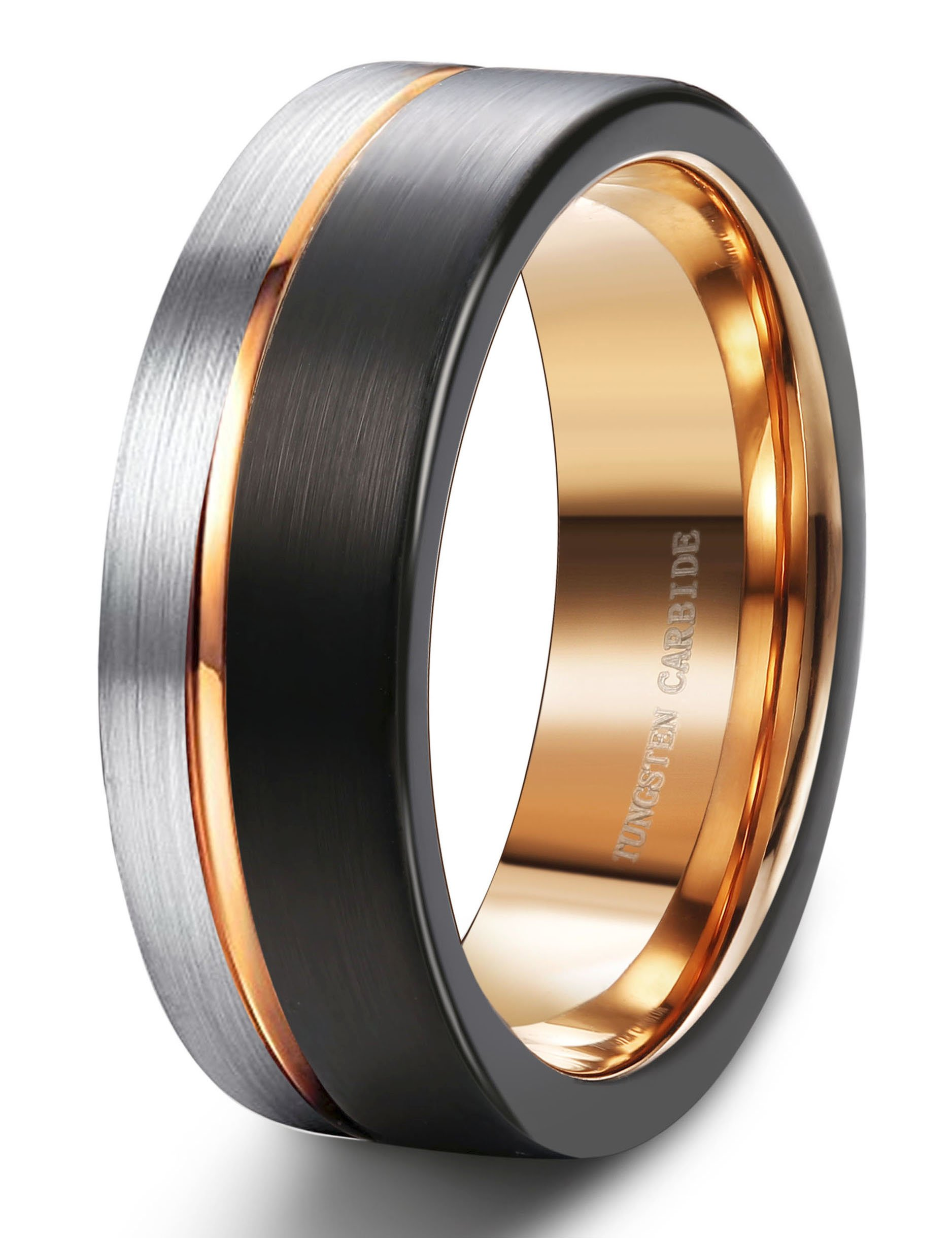 Tungary 8MM Tungsten Ring for Men Wedding Band Rose Gold Line Ring Black and Silver Brushed Size 9