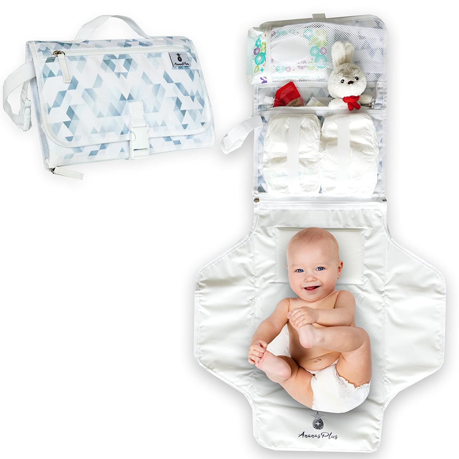 Portable Baby Diaper Changing Station by Ananas Plus: Waterproof BPA Free Cushioned Contoured Infant Diaper Changing Pad w/Pillow|2-in-1 Travel Changing Station & Stylish Bag| Top Baby Shower Gift