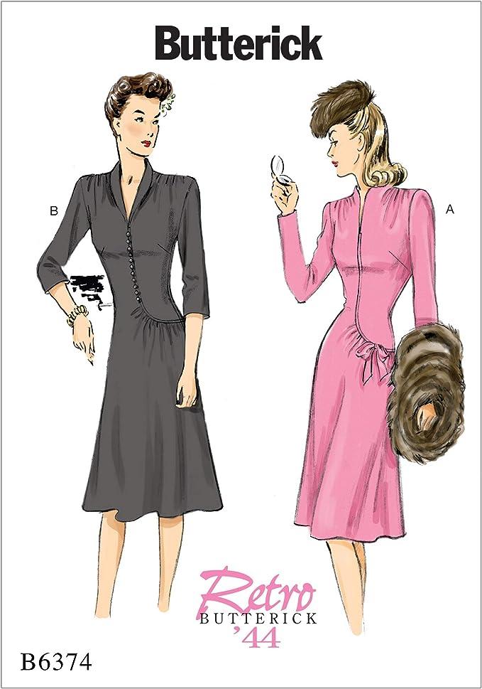 1940s Sewing Patterns – Dresses, Overalls, Lingerie etc Butterick Patterns 6374 E5Misses DressSizes 14-22 Tissue Multicoloured 17 x 0.5 x 22 cm £8.00 AT vintagedancer.com