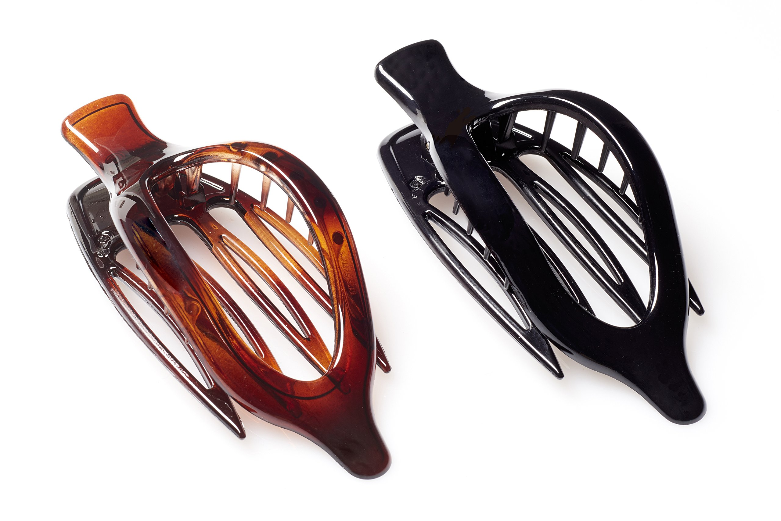 French Collection Set of 2 Side-Slide 'Infinity' Hair Claw Clips in Black & Tortoise Shell