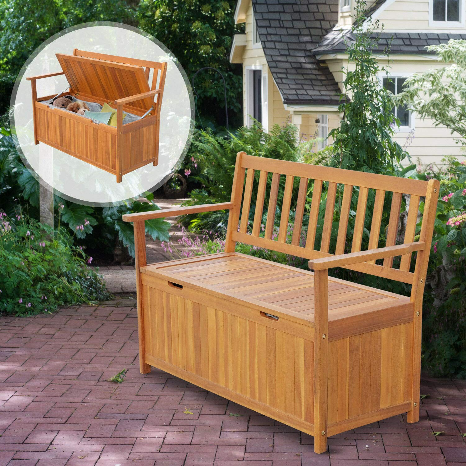 Multi-Purpose Tool Studio Storehouse Seating 47'' Natural Wooden Outdside Chest Storage Bench Country Vintage Style 47.25'' Lx23.5 Wx34.25 H Patio 2-Person Chair Dou Seat Deck Box