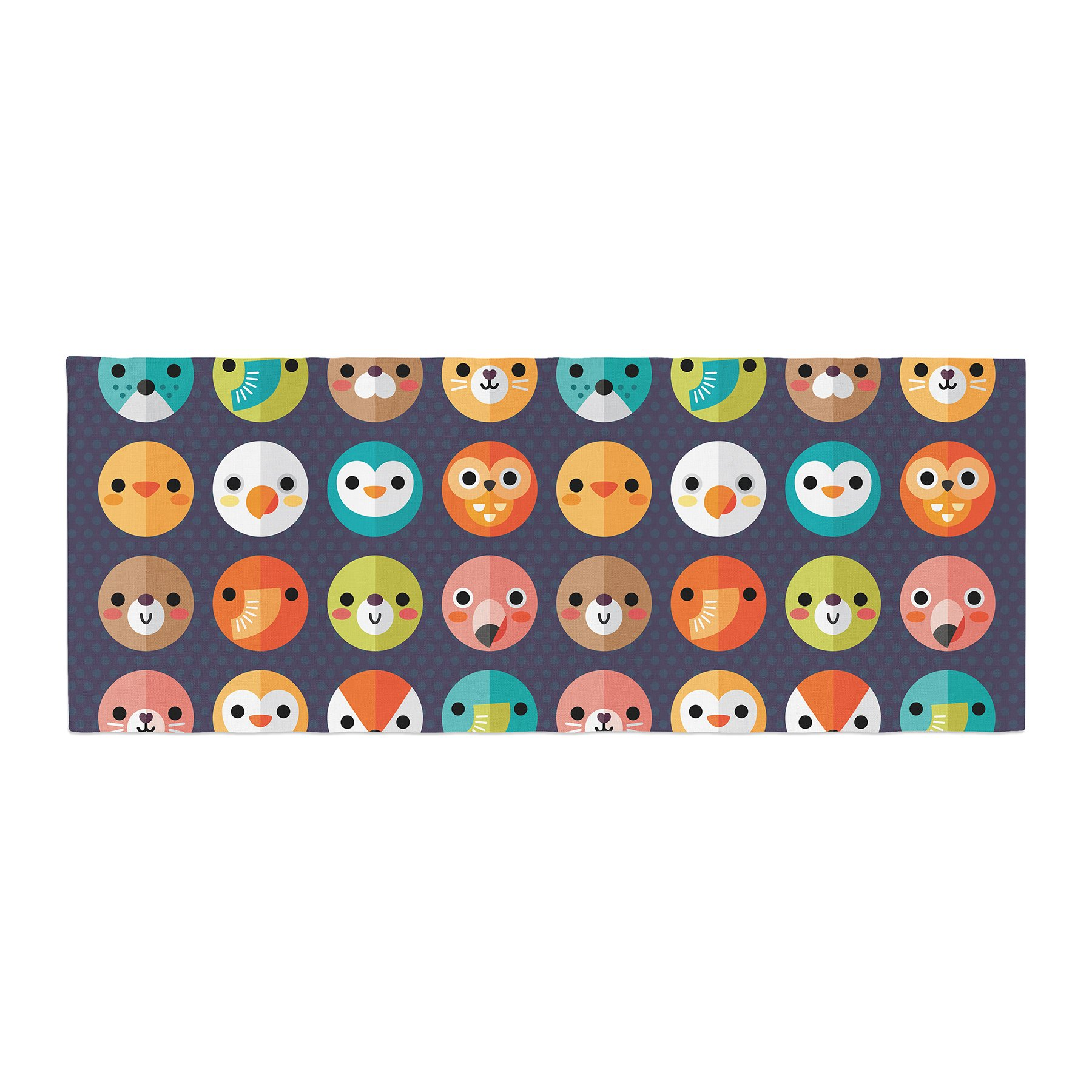 Kess InHouse Daisy Beatrice Smiley Faces Repeat Animal Pattern Bed Runner, 34'' x 86''