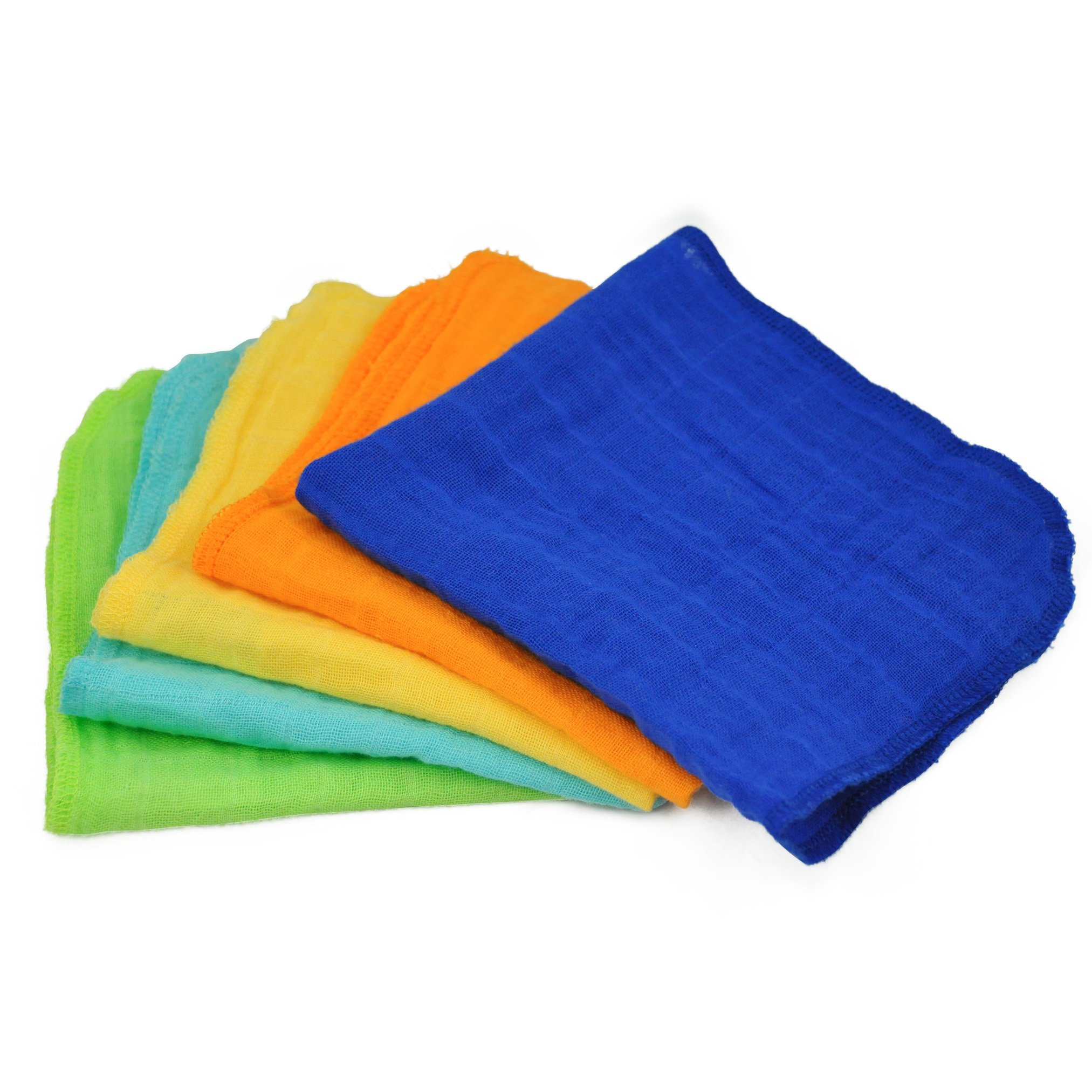 green sprouts Muslin Face Cloths made from Organic Cotton,Blue Set