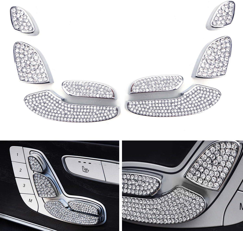 iJDMTOY 8pc Silver Chrome Bling Crystal D/écor Trims For Mercedes W205 C-Class X205 GLC-Class W213 E-Class Front Driver//Passenger Seat Adjust Control Switch
