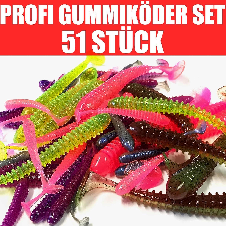 Jackson 51 St/ück Gummik/öder Set Forelle-Hecht 7,5 bis 15cm Gummifische Angelset