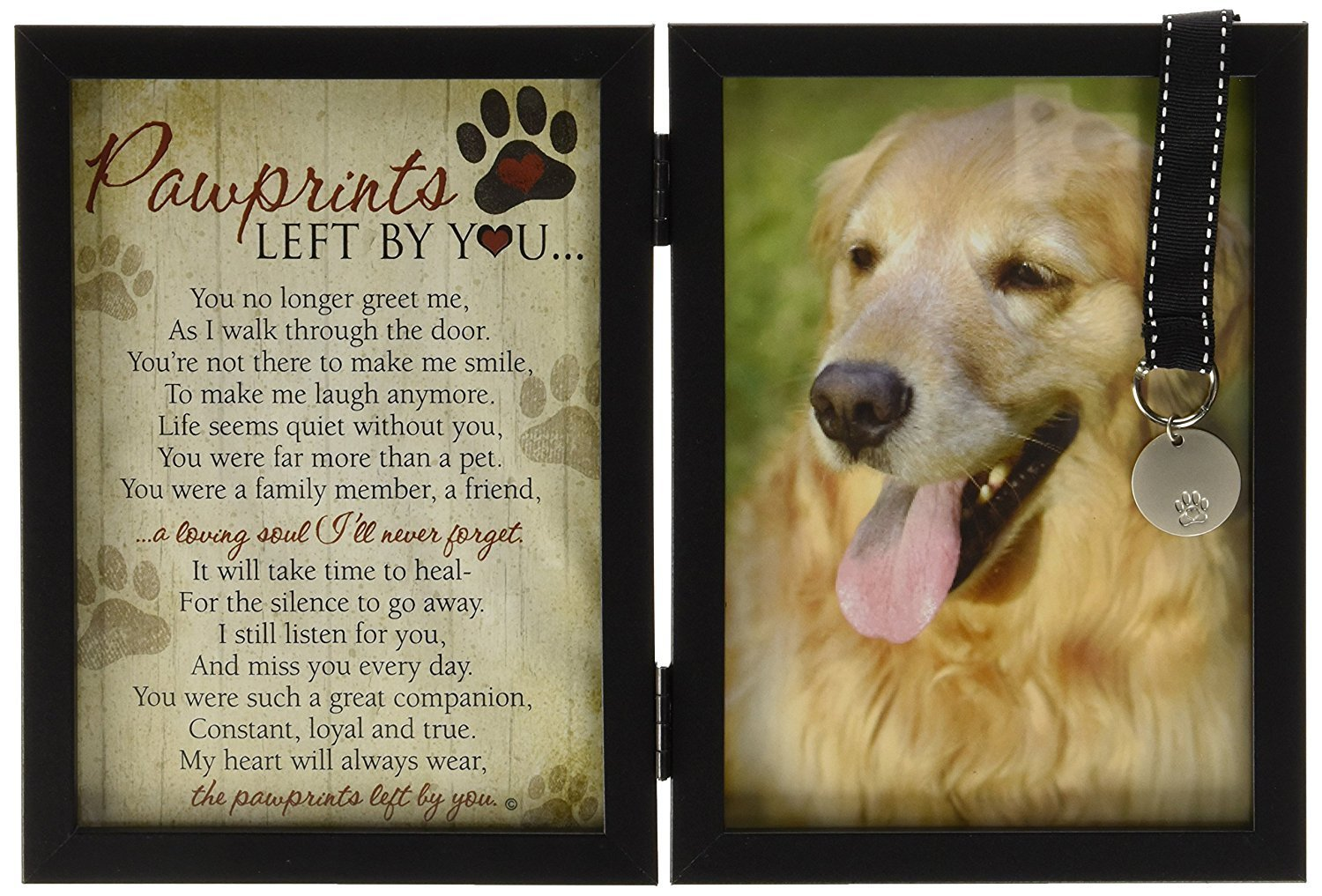 dog supplies online pawprints memorial pet tag frame - pawprints left by you