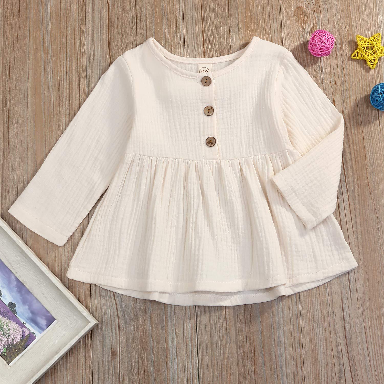 GSHOOTS Baby Girls Long Sleeve Blouse Linen Top