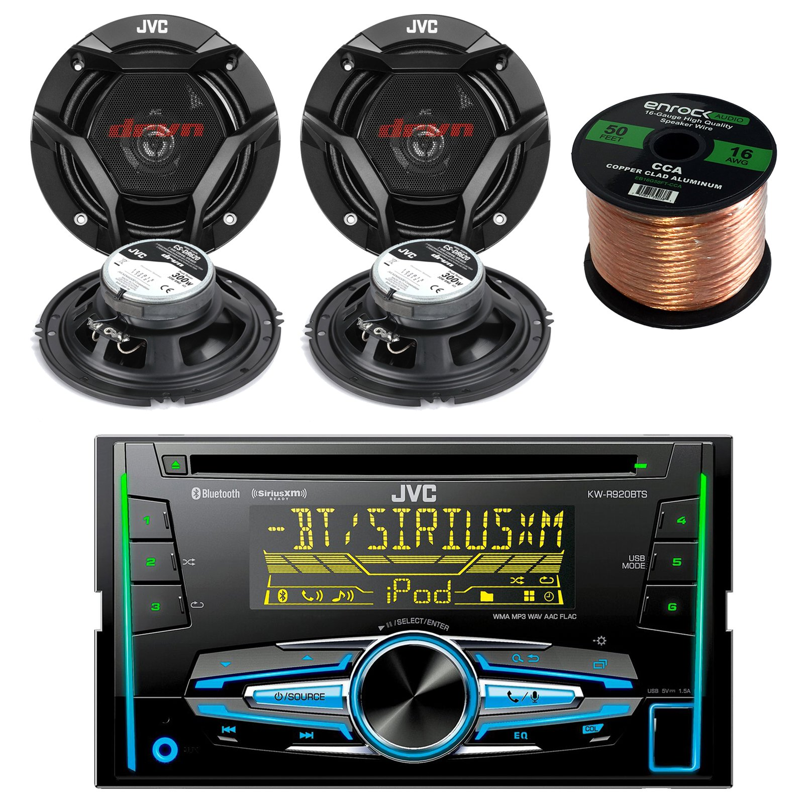 JVC KW-R920BTS Double DIN Bluetooth Car Stereo Receiver Bundle Combo With 4x JVC CS-DR620 6.5'' Inch 300-Watt 2-Way Audio Coaxial Speakers + Enrock 50 Foot 16 Guage Speaker Wire by JVCAudioBundle