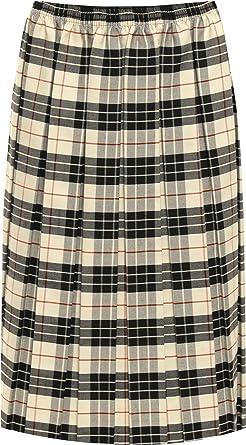 2def1a2217 WearAll Women's Plus Pleated Check Tartan Print Stretch Elasticated Midi  Skirt 16-30: Amazon.co.uk: Clothing