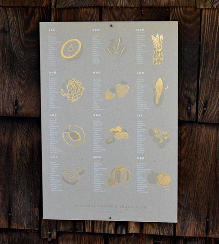 Seasonal Fruits & Vegetables Art Print | Art Prints & Posters | Young America Creative | Scoutmob | Product Detail