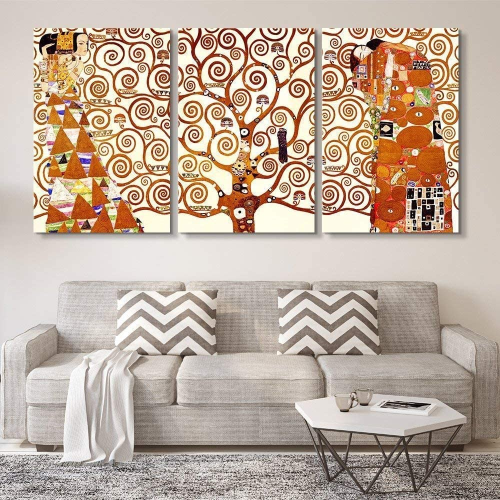 "wall26 3 Panel World Famous Painting Reproduction on Canvas Wall Art - Tree of Life by Gustav Klimt - Modern Home Art Ready to Hang - 16""x24"" x 3 Panels"