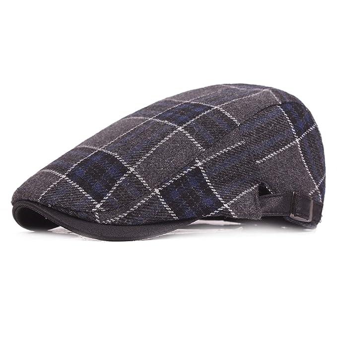 Sombrero de lana para hombre Gorros de tela escocesa Gorros de otoño e invierno Sombrero retro Sombrero de adulto medio: Amazon.es: Ropa y accesorios
