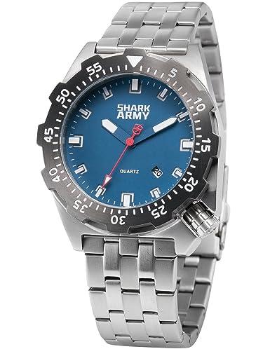 SHARK ARMY Reloj Hombre de Cuarzo, Correa de Acero Inoxidable SAW188: Amazon.es: Relojes