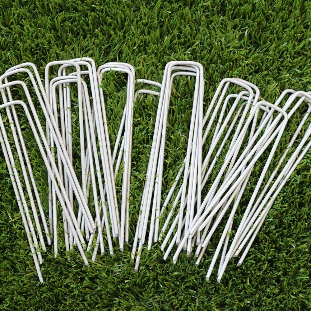 Garden Stakes 6 Inch Landscape Pins Galvanized Rust Resistant-Heavy Duty Reusable U-Shape Sod Pins Landscape Staples for Anchoring Weed Barrier Fabric,Ground Cover,Dog Fence,Wire,Tube,etc.