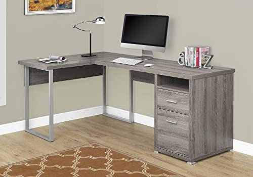 Monarch Specialties Computer Desk L-Shaped Corner Desk with File Cabinet – Left or Right Set- Up – 80 L Dark Taupe