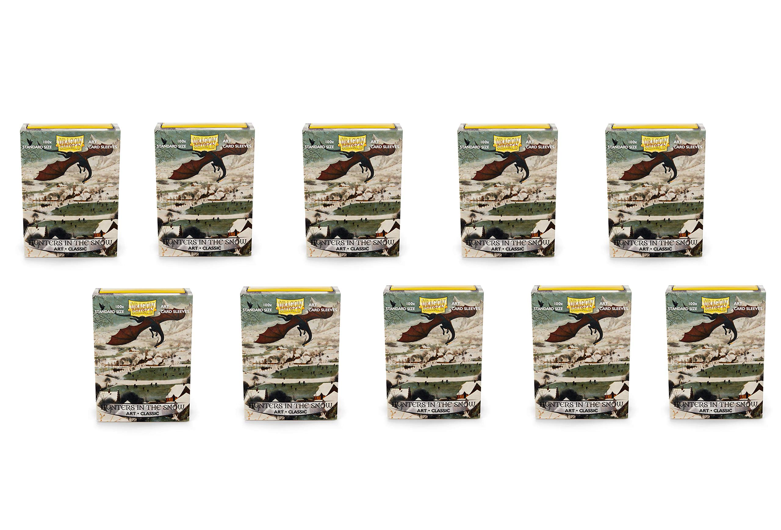 10 Packs Dragon Shield Classic Art Hunters in The Snow Standard Size 100 ct Card Sleeves Display Case