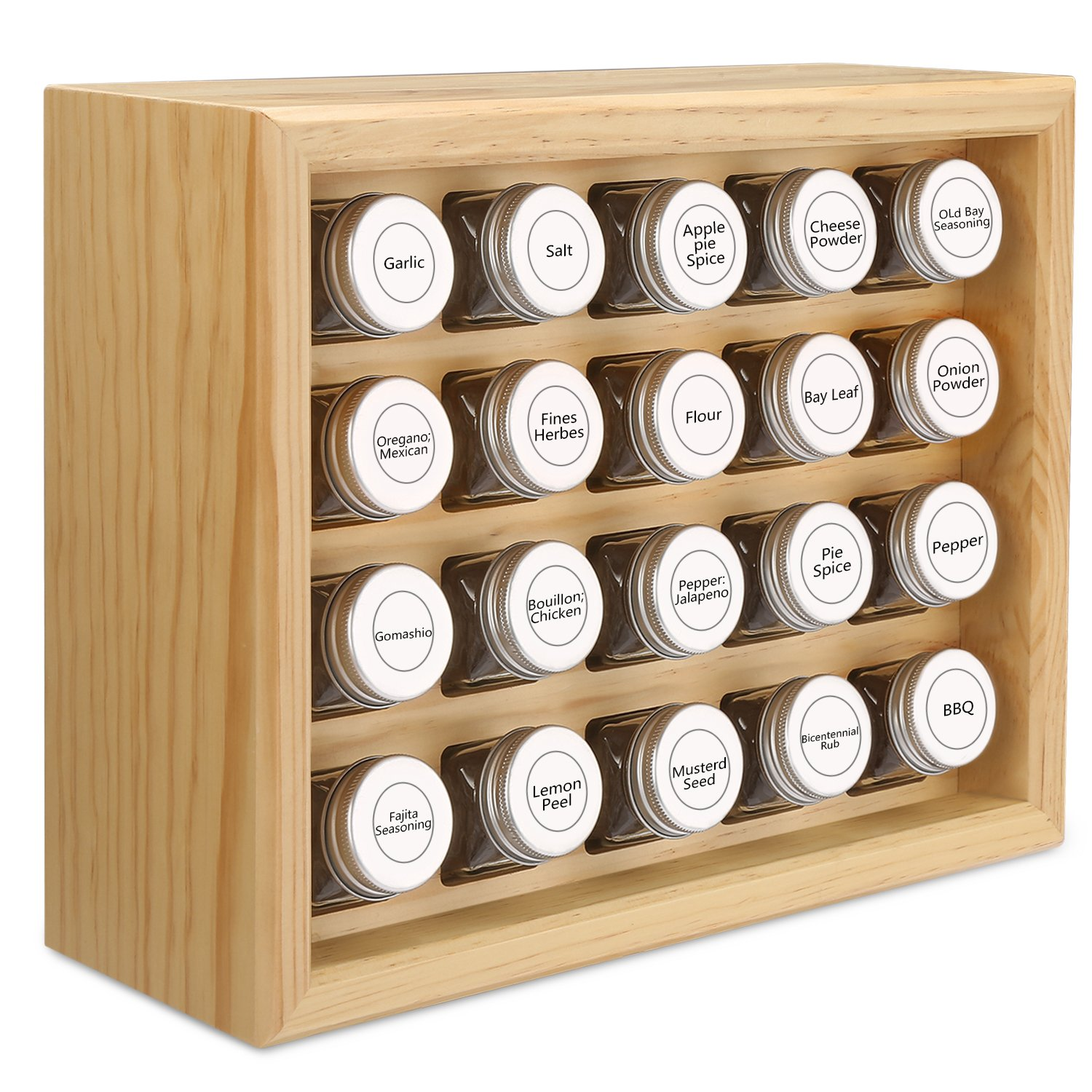 100% Solid Wood Spice Rack, Includes 20 4oz Clear Glass Jars,315 Pre-Printed Labels.Fully Assembled.