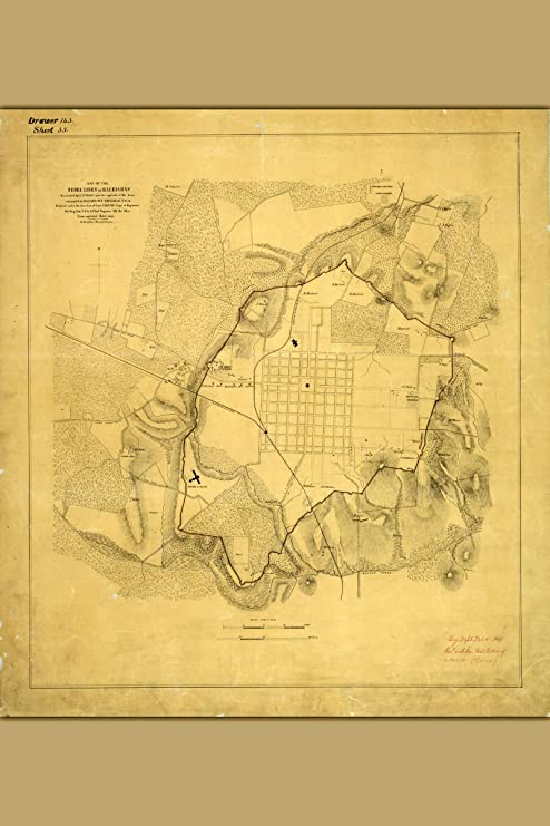 NC; Civil War Map of the Rebel Lines; Antique Map Raleigh