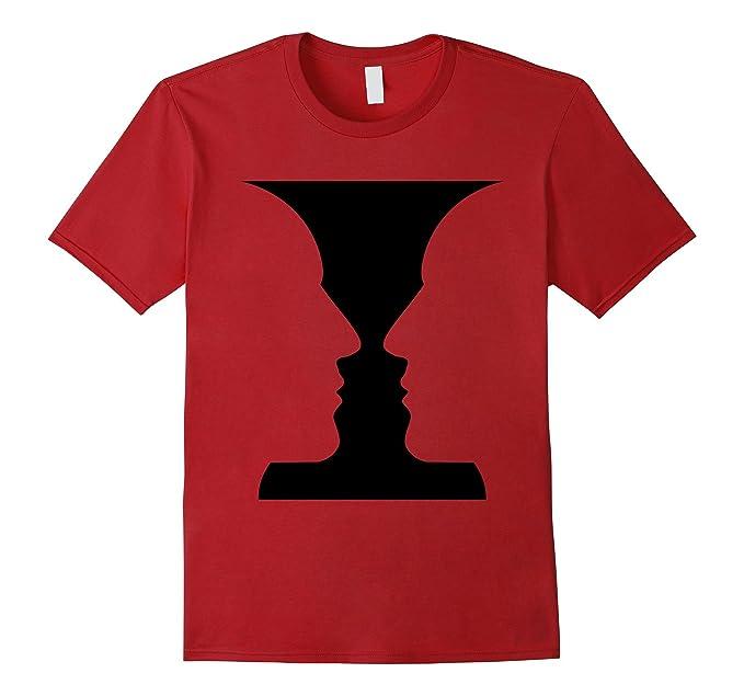 Amazon Rubin Vase Figure Ground Vase Optical Illusion T Shirt