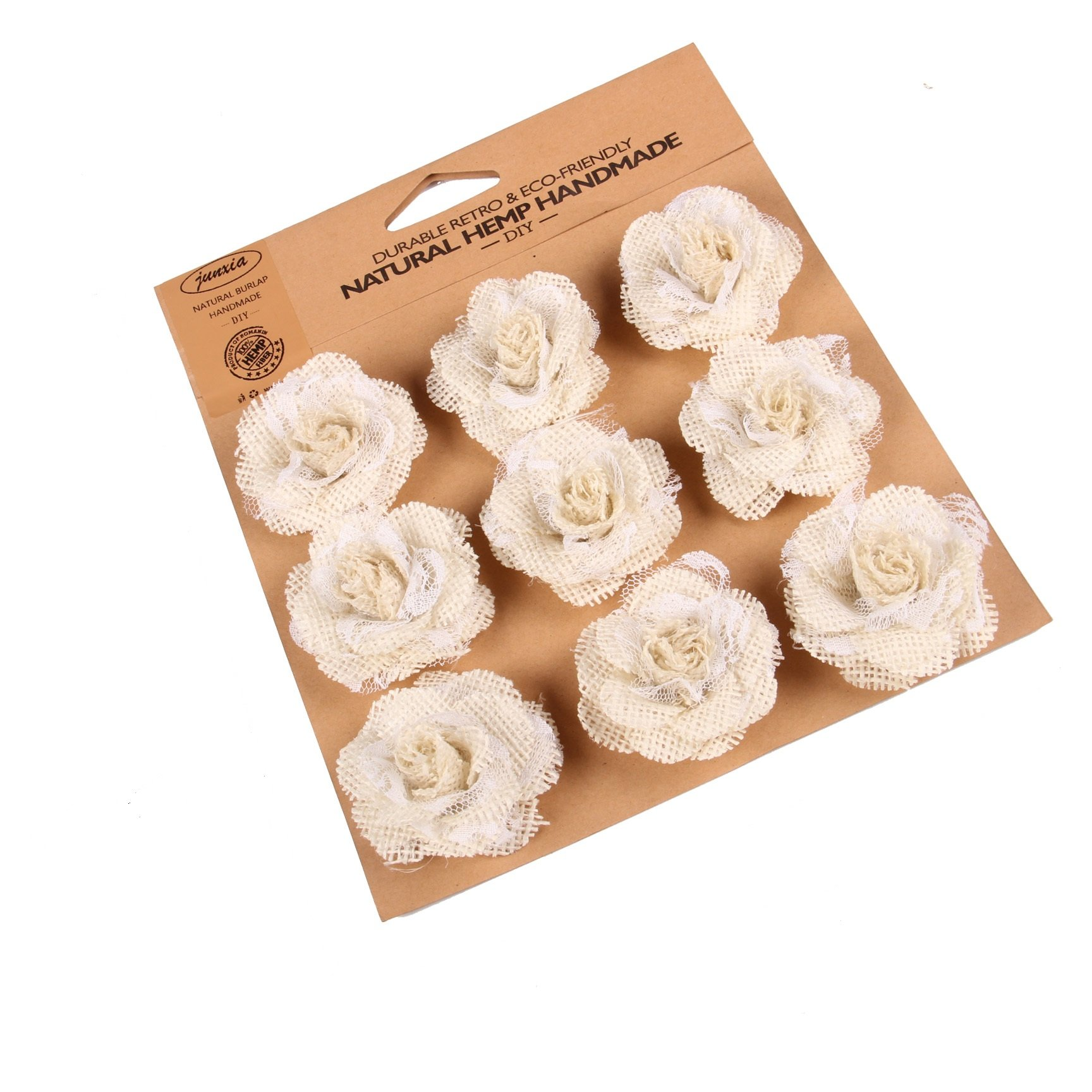 Junxia Hessian Burlap Rose Flowers for Rustic Wedding Party Decoration (9pcs)(Small)
