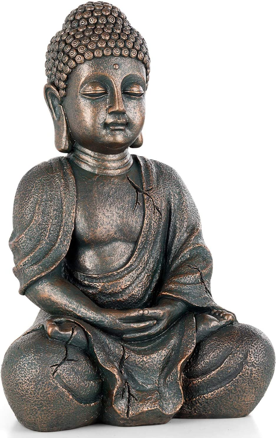"DBassinger Meditating Seated Buddha Statue, 14.7"" Tall Antique Bronze Statuary- Home & Outdoor Decor for Garden, Patio, Deck, Porch - Yard Art Decoration"