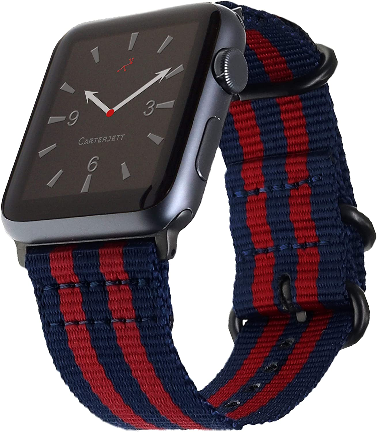 Carterjett Compatible with Apple Watch Band 42mm 44mm Nylon Sport iWatch Bands Navy Blue & Red Replacement Woven Strap Rugged Military Loop Buckle for Series 5 4 3 2 1 (42 44 S/M/L Sailor Stripe)
