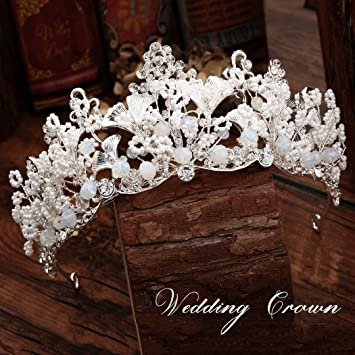 Silver Sparkling Crystal Wedding Tiara Bridal Leaf Hair Combs Hair Accessories