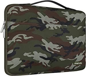 MOSISO Laptop Sleeve 360 Protective Case Bag Compatible with 13-13.3 inch MacBook Pro, MacBook Air, Notebook, Polyester Pattern Shockproof Handbag with Trolley Belt,Army Green Camouflage