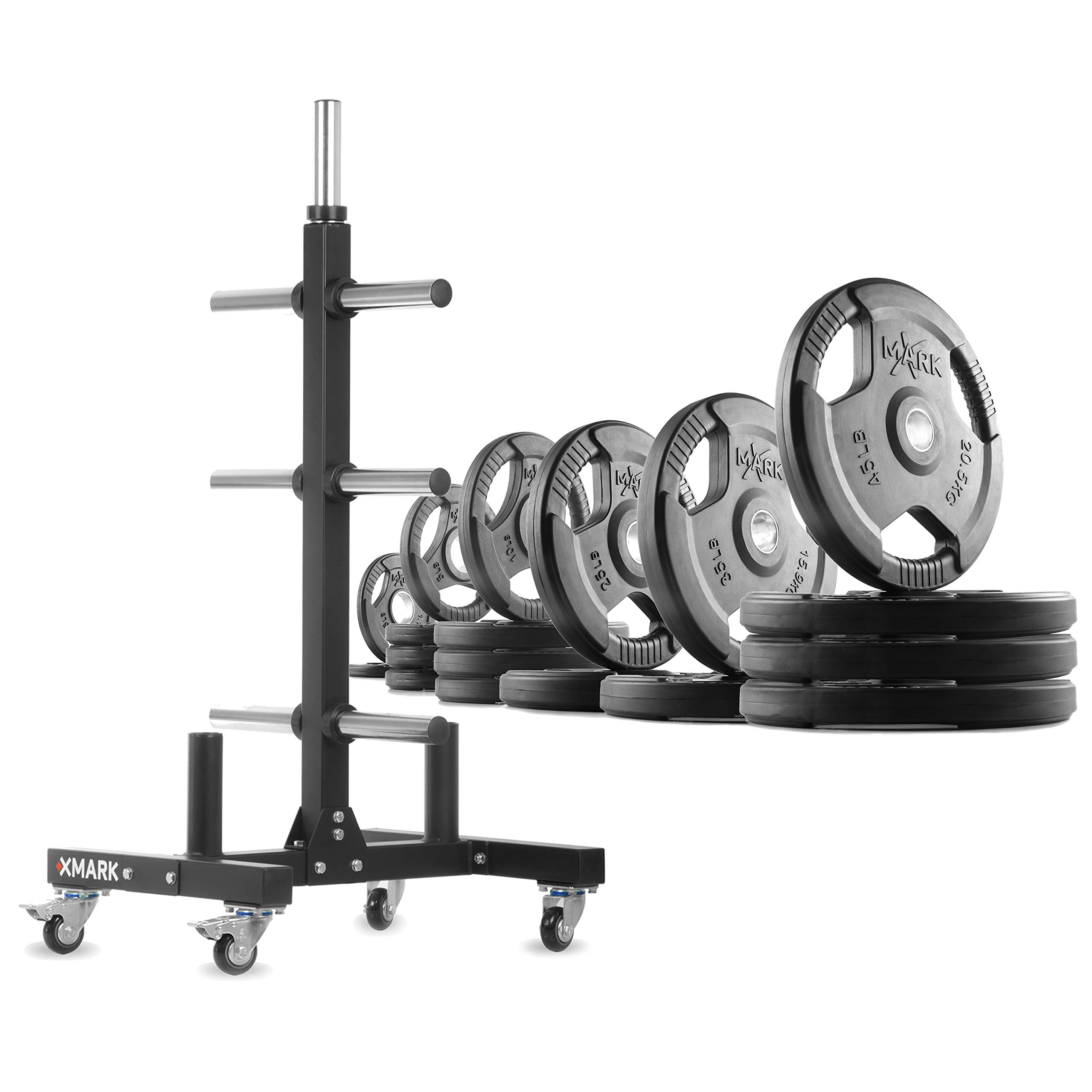 XMark XM-9055 Commerical Olympic Weight Tree Plus a 365 lb Set of TRI-Grip Olympic Plates by XMark