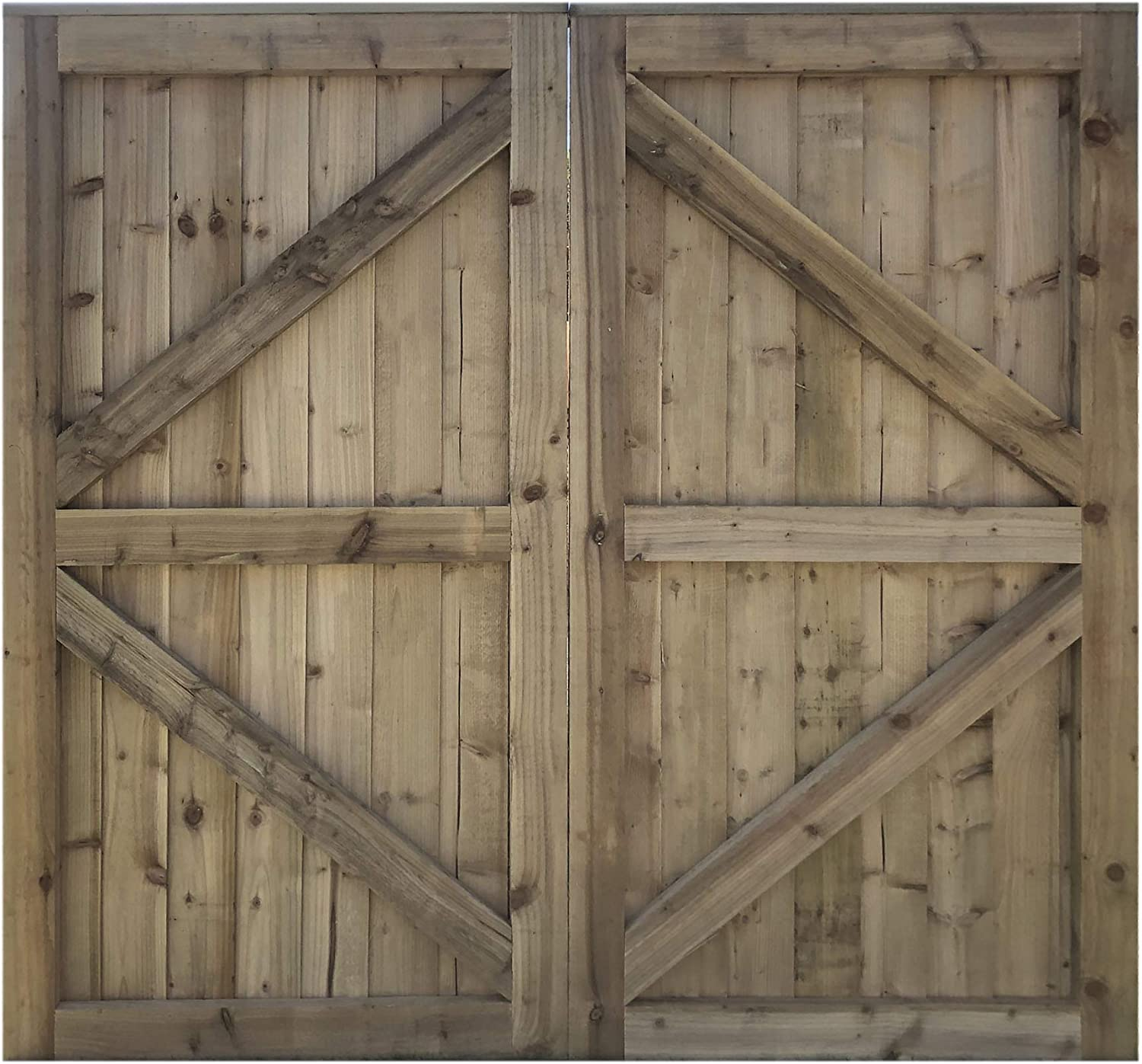 180cm x 90cm Feather Edge Fully Framed Strong Garden Gate Driveway Fence Wood Timber 180cm Tall x 90cm Wide, with Ring Latch Hinge Pack