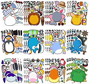 Make-a-face Sticker Sheets for Kids Summer Birthday Party Favors Bags, 36 Pack Make Your Own Animal Mix and Match Crafts With Safaris, Sea, Fantasy Animals Kids Homestay Birthday Party Favors Supplies