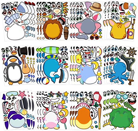 Fun Craft Project for Kids Make Your Own Stickers Hudson Over 550pcs Racing Car Mix and Match Stickers for Party Favor TICIAGA 36pcs Car Theme Make-a-face Stickers Sheets Cruz Mix of McQueen