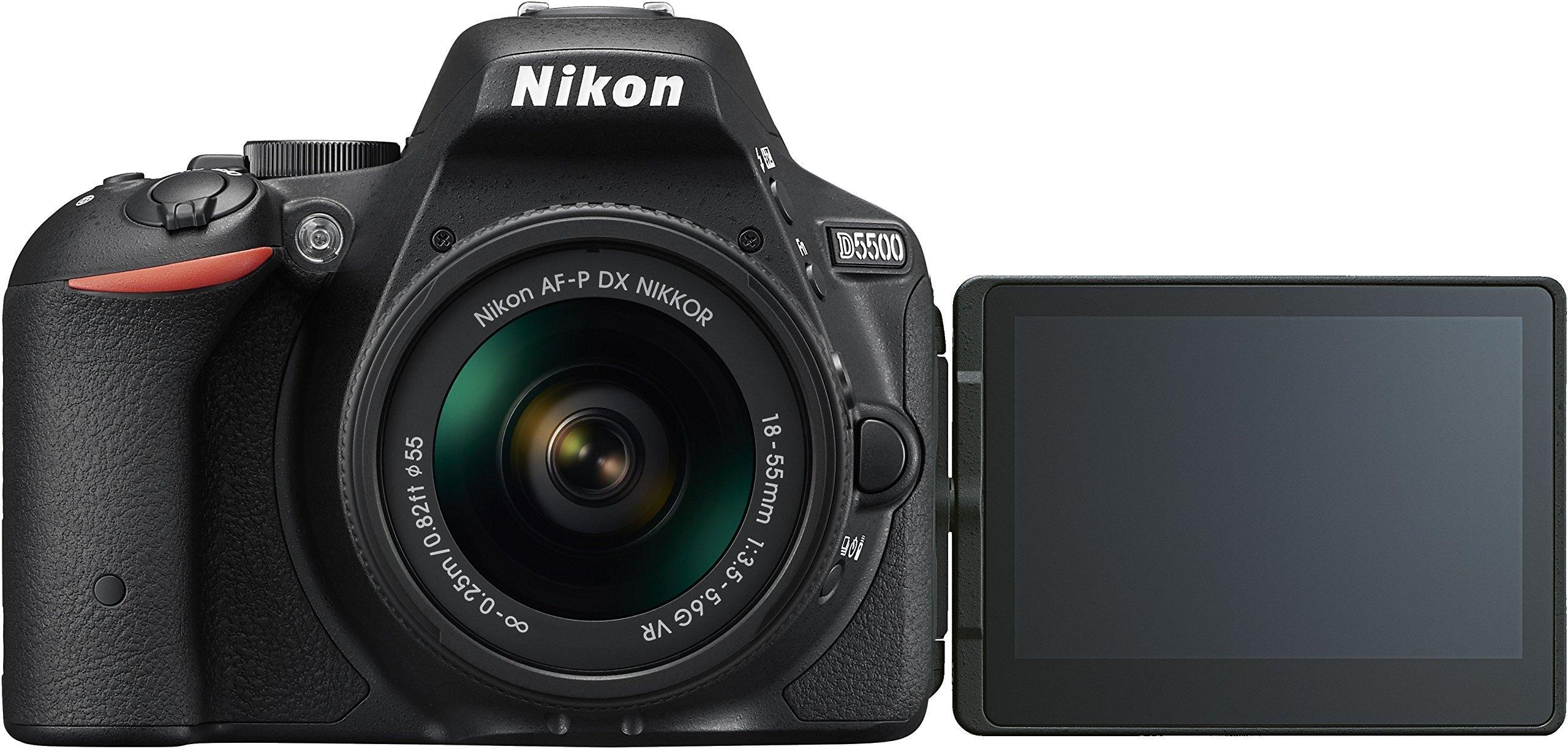 Nikon D5500 + Nikkor 18-55 VR Fotocamera Reflex Digitale, 24,2 Megapixel, LCD Touchscreen Regolabile, Wi-Fi Incorporato, Nero [Versione EU] product image