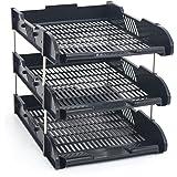 White Box - Set di 3 cestelli per la corrispondenza e 8 asticelle in metallo, ideali per scrivania, adatti a fogli in formato A4 e fogli protocollo