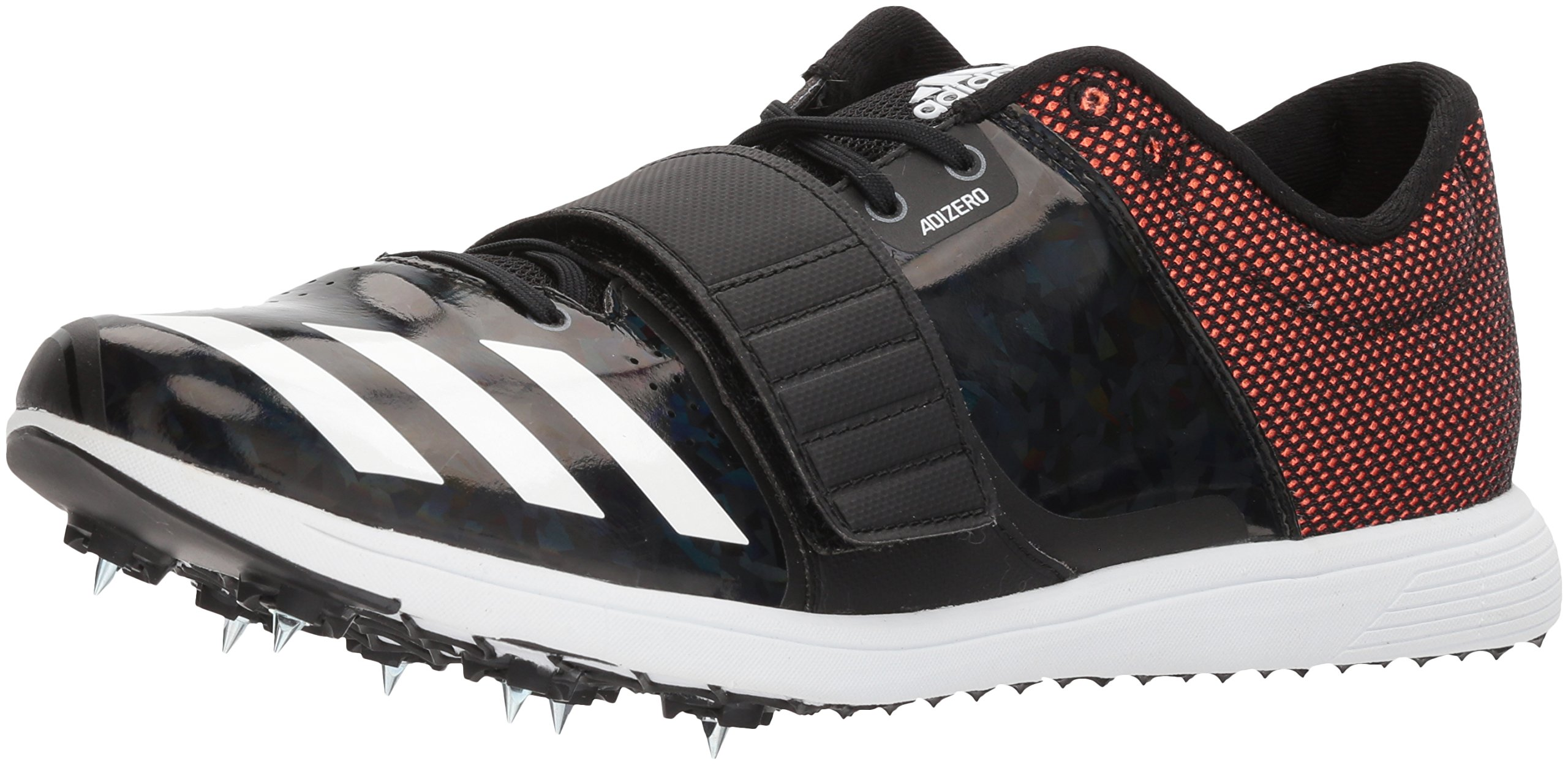 adidas Adizero TJ/PV Running Shoe, Core Black, Ftwr White, Orange, 13 M US