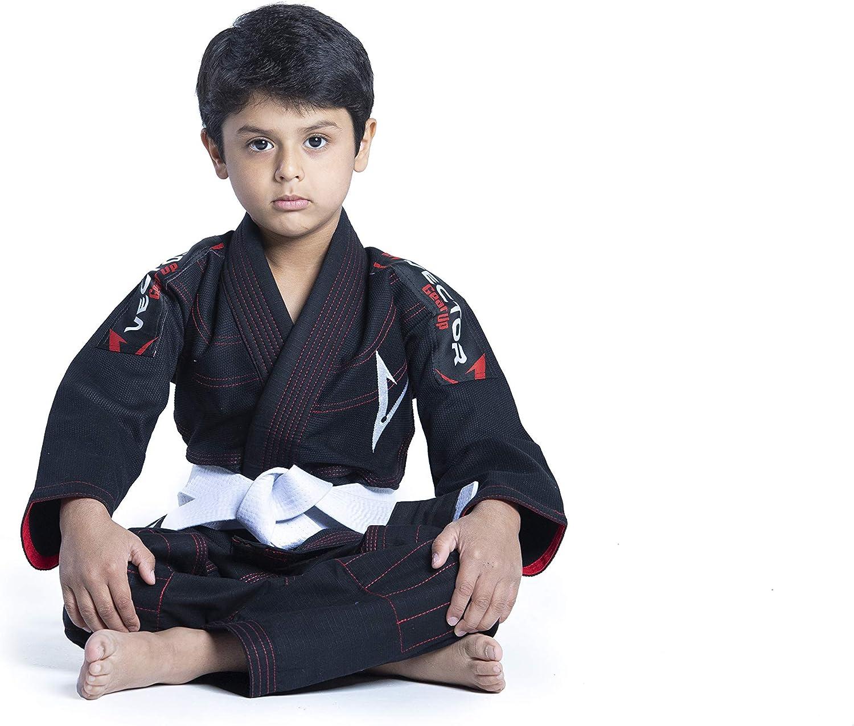 avec ceinture blanche gratuite Tissu 100//% coton tissage perl/é pr/ér/étr/éci l/éger Vector Kimono Gi de jiu-jitsu br/ésilien JJB pour enfants