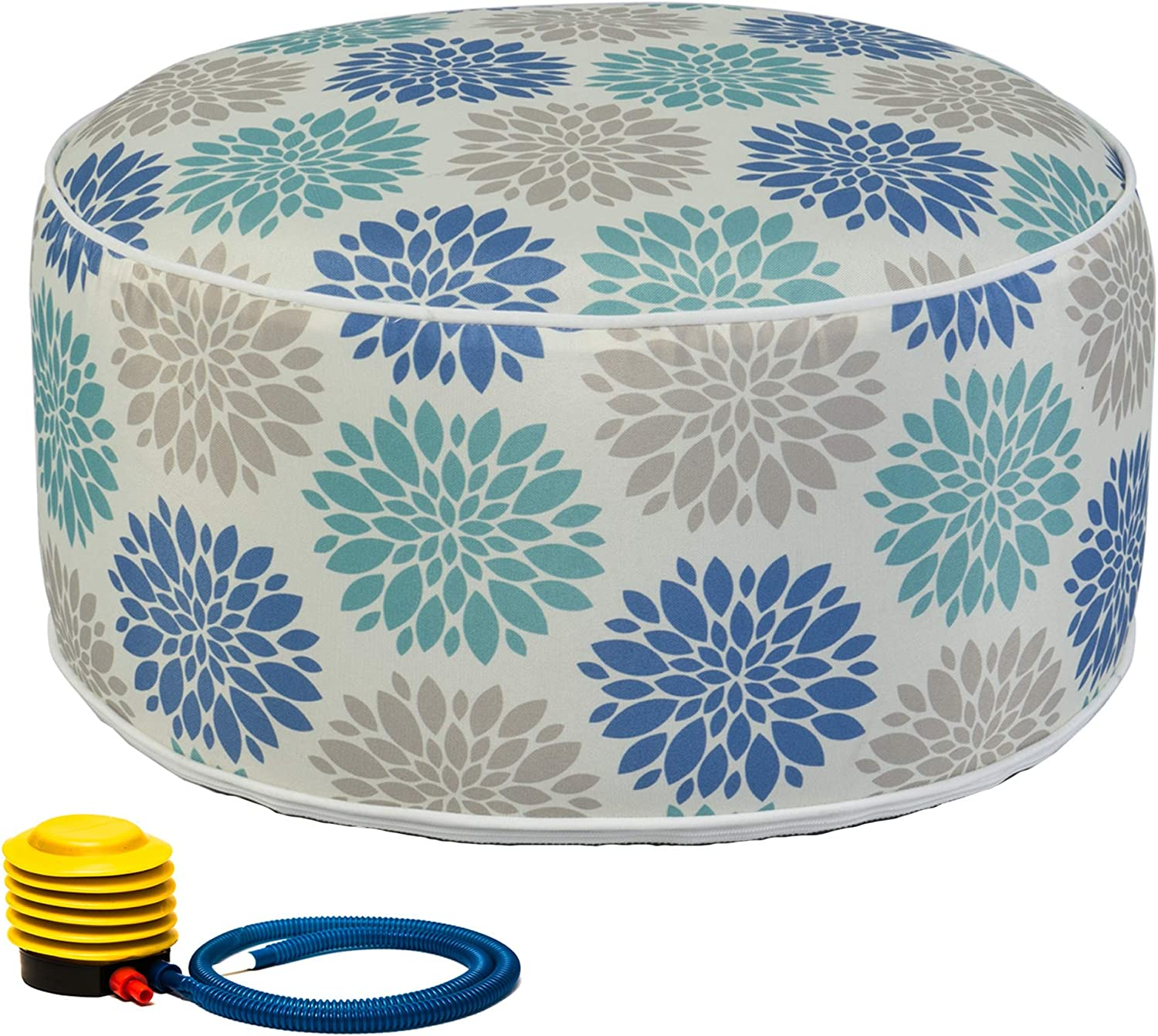 Kozyard Inflatable Stool Ottoman Used for Indoor or Outdoor, Kids or Adults, Camping or Home (Cool Calm)