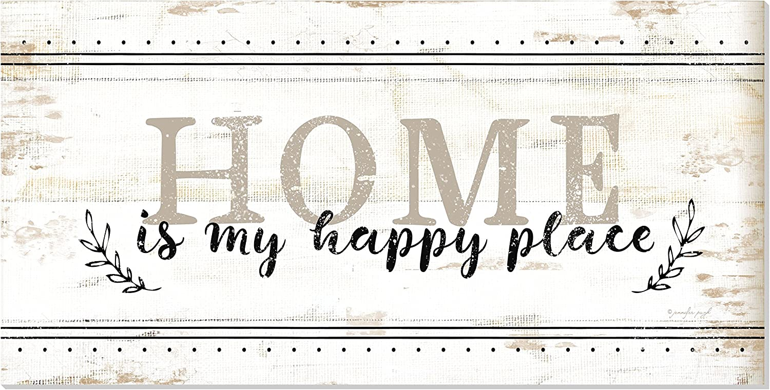 Home is My Happy Place Rustic Printed Wood Wall Sign 9x18