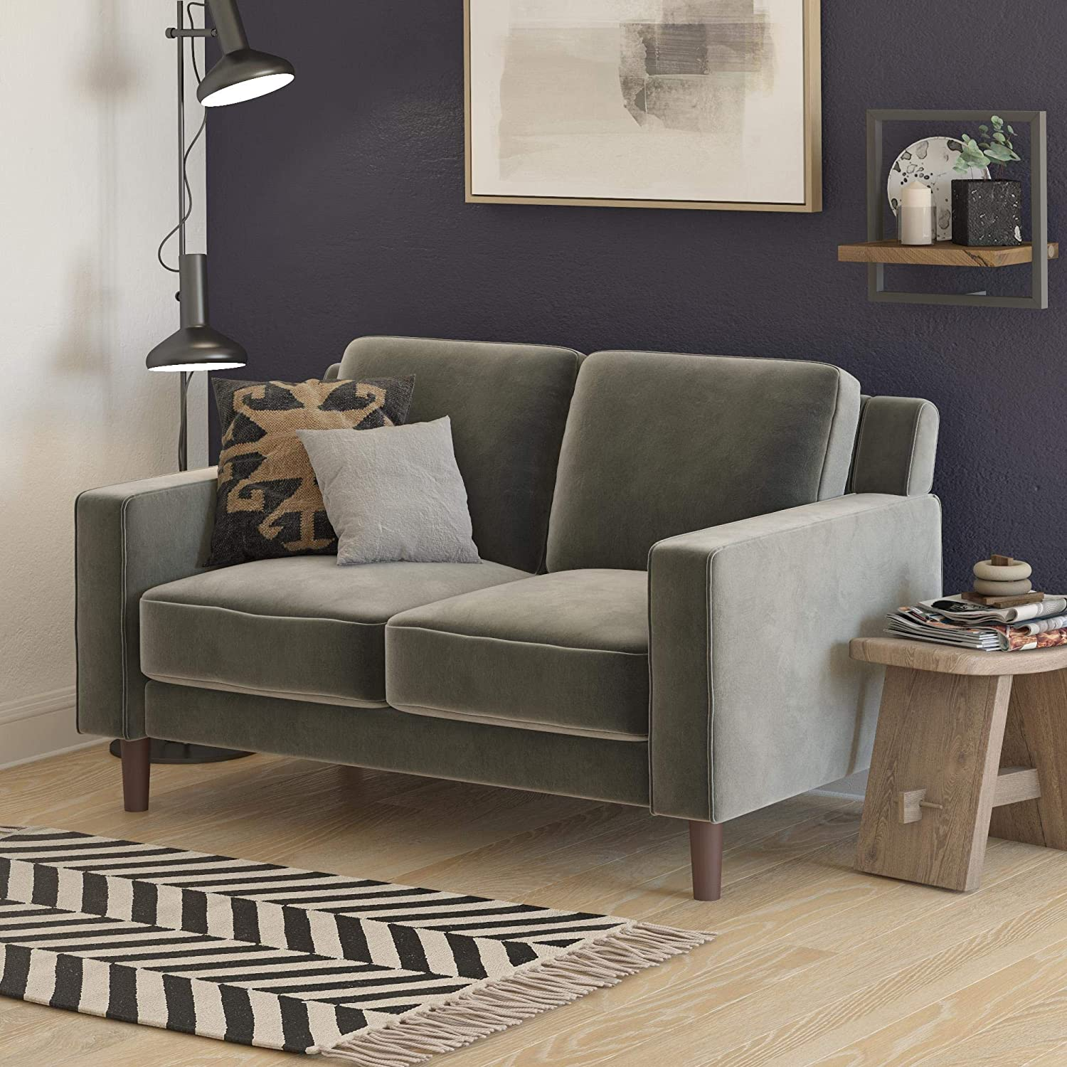 DHP Brynn Loveseat Seater Upholstered, Living Room Furniture, Velvet Sofa, Gray
