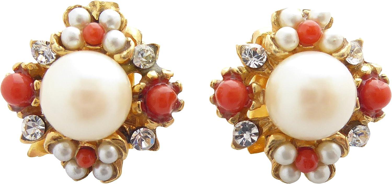 Pendientes decorativos de clip, perlas blancas, naranja-rojas, corales, piedras brillantes pequeñas, plata chapada en oro, hecho a mano, estilo retro, vintage, regalo