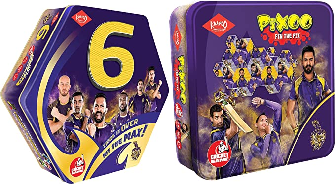Kaadoo 6-KKR-Cricket Boardgame and Pixoo-KKR-Cricketer Puzzle Game